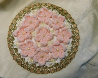 Large Ribbonwork Medallion Velvet And Silk Flowers