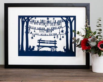 Personalised Bereavement Gift  'In Loving Memory' Papercut Style Print