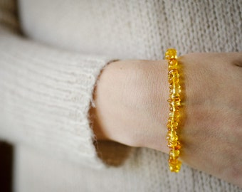 Amber bracelet gold color