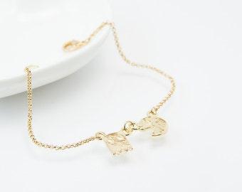 Pacman bracelet, cute bracelet, friendship bracelet, gold pacman bracelet, pacman, cute gold bracelet, gold pacman charm, cute pacman