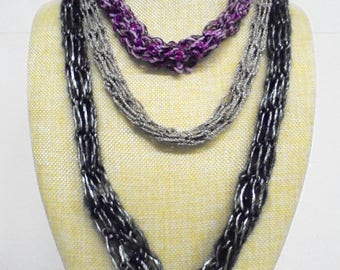 Necklace, long, crochet 74 cm