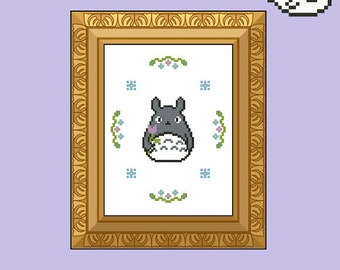 My neighbor Totoro - Totoro with flower frame - Cross Stitch Pattern