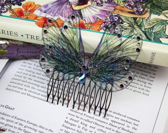Beautiful Victorian Style Fairy/Mermaid Hair Comb - Soft Blue and Purple Double Wing Cicada/Fairy/Faerie/Butterfly Hair Clip/Accessory
