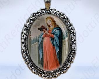 Pregnant Virgin Mary Catholic Christian Medal Silvertone Large Pendant