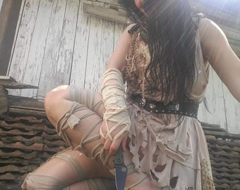Dress, apocalypse dress,textured dress, wasteland ,mad Max inspired,fae,mori girl, dystopian ,brown,tatter punk,short dress, dance,rave,sexy