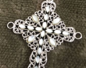 Vintage Sterling Silver and Mother of Pearl Cross, Irish, Celtic, Large