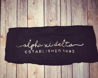 Alpha Xi Delta Black Bella and Canvas Gold Established Flowy Long Sleeve