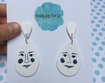 Blue Babes Hand Drawn Teardrop Dangles