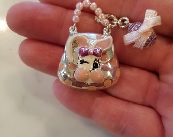 Easter Rabbit Purse the Opens  with Dangle Egg Charms Findings 4pc