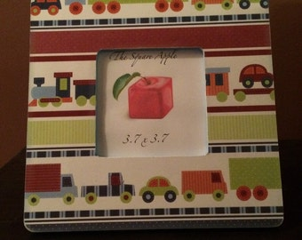 3x3 Cars / trains wooden picture frame FREE Shipping
