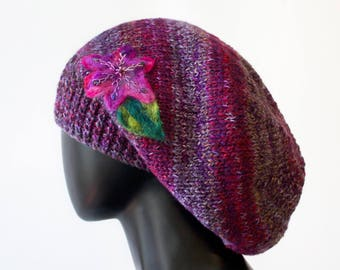Plum Slouch Hat - Purple Knitted Hat - Hand-knitted Slouchy Tam Hat beret - Purple slouch hat - Ladies purple winter hat with flower detail