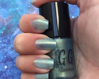 Nessie - Light Blue Iridescent Nail Polish with Iridescent Glitter