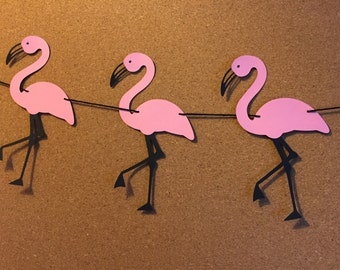 Flamingo garland, baby shower garland, birthday garland, paper flamingo garland,  summer garland
