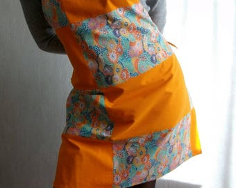 Apron is orange - orange patchwork apron and flowers - vintage retro - apron patchwork apron