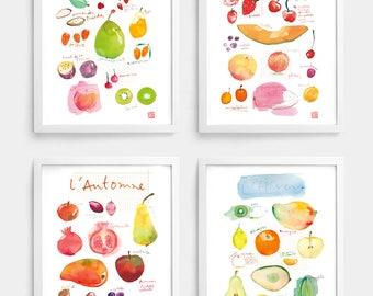 Set of 4 prints, Seasonal fruit print, Watercolor painting, Fruit illustration, Healthy eating poster, Kitchen art, Seasonality Food artwork