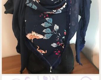 Blue floral triangle fringe scarf