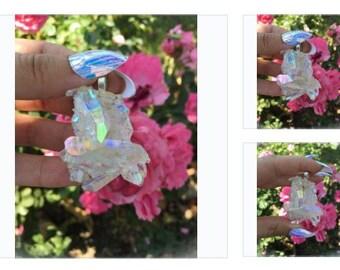 Reserved. Angel Aura Quartz Cluster. Sunset Aura number 5. 17 inch chain angel Aura pendant