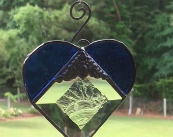 Blue Heart with glue chip bevel  Suncatcher