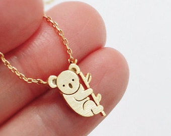 Koala Necklace, Tiny Animal Necklace, Aussie Animal Koala, animal