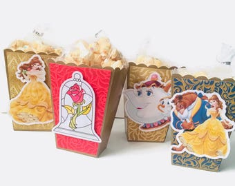 Be Our Guest - Beauty and the Beast - Belle - Chip | Popcorn Boxes, Treat Boxes, Favor Boxes, Goody Boxes, Snack Boxes, 12 Boxes