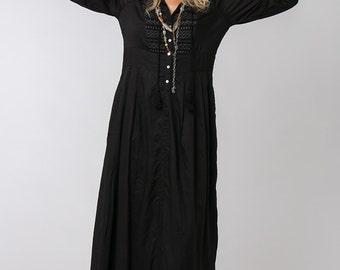 Long Sleeve Black Dress, Bohemian Dress, Loose Dress, Black Maxi Dress, Long Black Dress, Bohemian Chic, Womens Dresses