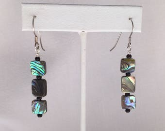 Paua shell and sterling silver earrings