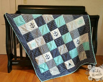 Nautical Crib Quilt, nautical crib bedding, Handmade baby quilt, Monogrammed baby quilt, Blue Anchors Quilt, blue Whale Quilt, custom quilt
