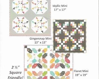 Mini Quilt Pattern Trio, Sweetness Mini Quilts, Coriander Quilts, Corey Yoder Quilt Pattern, Modern Mini Quilt Pattern, CQ105