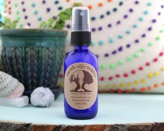 Enchanted Dreams Linen and Room Mist - Room Spray - Linen Spray - Body Mist - 2 oz Cobalt Blue Bottle - Air Mist - Room Deodorizer