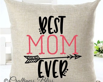 Best Mom Ever Mother's Day Pillow Cover Decorative Throw Pillow Case Cover