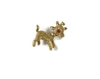 Vintage Lamb Brooch, Lamb Jewelry, Vintage Lamb, Gold Lamb Pin, Spring Brooch, Easter Brooch, Easter Jewelry, Vintage Easter