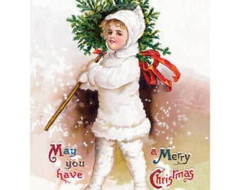Snow Baby Card - Christmas Notecard - Repro Clapsaddle