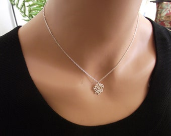 Lotus Necklace, Silver Necklace, Sterling Silver, Yoga Necklace, Om