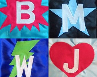 Kids Superhero Cape - Superhero Cape Personalized with Shape and Initial - Superhero Party Favor - Custom Superhero Cape
