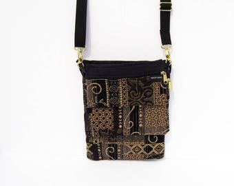 Black and Gold Tapestry Convert-A-Bag, Purse, Sectional Bag, Organizer Purse