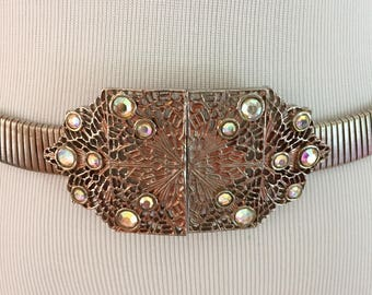 1980s Vintage Accessocraft N.Y.C. Bronze Metal Stretch Belt/Jeweled Buckle