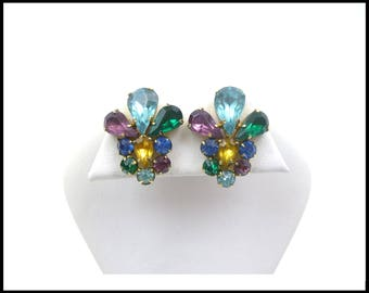 CZECH MultiColor Rhinestone Earrings, Aqua Green Royal Blue Purple Gold, Workday Bling, Bridesmaid Maid of Honor, Anniversary Gift For Her