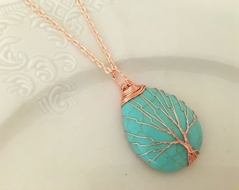 Tree of Life Hand Wired Necklace, Turquoise Pendant, Boho Inspired Jewelry,Rose Gold Necklace,Tree of Life Pendant,Gift for Her,Healing