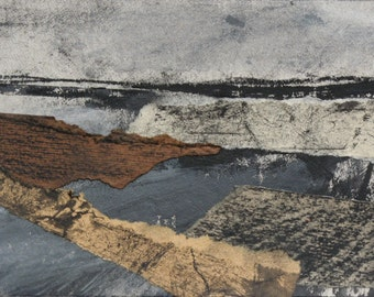 Seascape, coast, collage, charcoal, acrylic, Yorkshire, abstract, shore, grey, black, white, fine art, beach, Original Art Postcard 90