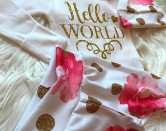 BABY GIRL Coming Home Outfit/Baby Girl/Baby Shower Gift/Newborn Girl Coming Home Outfit/Baby Girl Clothes/New Mom Gift/Baby Girl Leggings