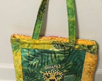 Starbucks Recycled Coffee Tote Bag-Chiapas Blend-Yellow and Green Batiks
