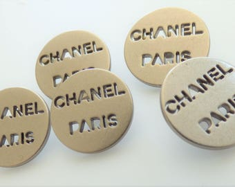 Chanel Paris Metal Silver Gunmetal Button 18mm, 20mm  / Price is for one button