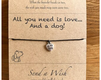 Puppies dogs pooch, dog gifts, dog lovers, Pets owners, Make a wish bracelet, Fur babies, Paws, I love animals,  greeting card, ecofriendly