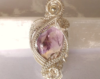 Ametrine crystal pendant silver plated weaved wire