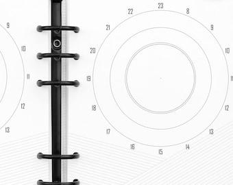 Filofax Calendar Inserts - A5 / Kikki K Large Daily Calendar Clocks, diagonally ruled note area. Printable INSTANT digital DOWNLOAD