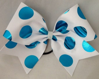 Cheer Bow - White with Turquoise Polka Dots