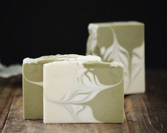 Green Tea Soap | Swirled Artisan Soap, Handmade Scented Soap Bar, Vegan Homemade Cold Process Soap, Fragrant Handcrafted Soap, Soap Gift