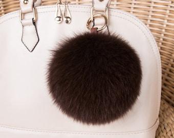 Dark Coffee Fox Fur Keychains Genuine pompom Handbag charm, plush furry keychain, furry ball keyring fluffy purse charm many color be custom