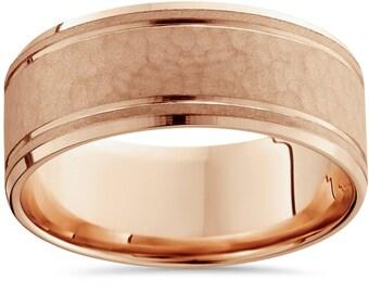 Hammered 14K Rose Gold 8MM Mens Wedding Ring Band