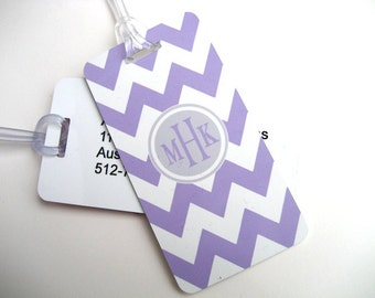 Luggage Tag Pair - Lavender and White Chevron Custom Monogram Luggage Tag - Personalized Luggage Tag - Travel Tag - Your Monogram